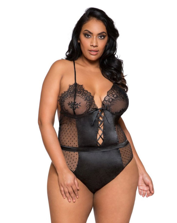 Plus Size Lingerie | LI279X, Satin and Lace Teddy color black front view