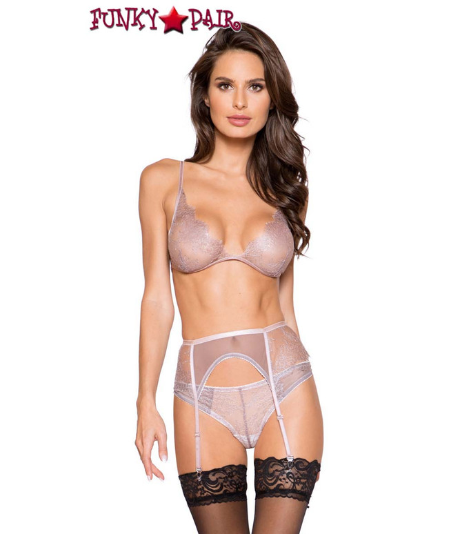 Roma Lingerie | LI261, 3pc Garter Set front view