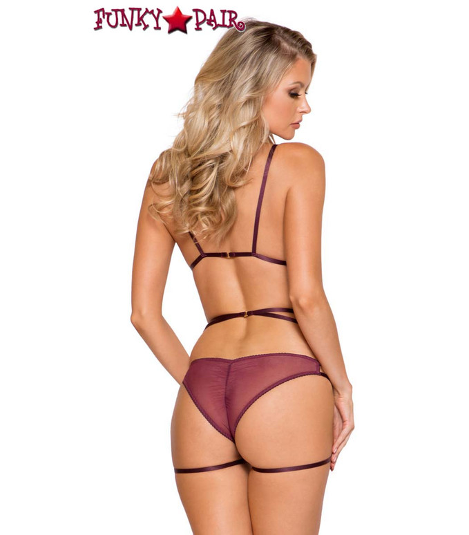 Roma | LI282, 3pc Plum Color Cage Garter Set back view
