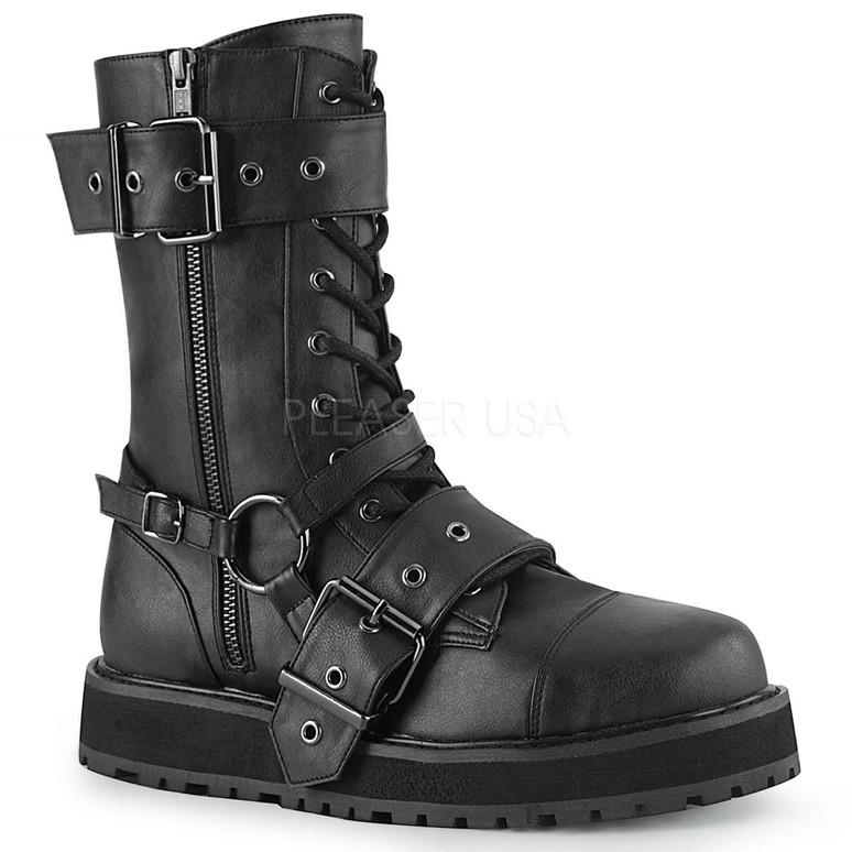 Demonia | VALOR-220, Men's Harness Strap Boots