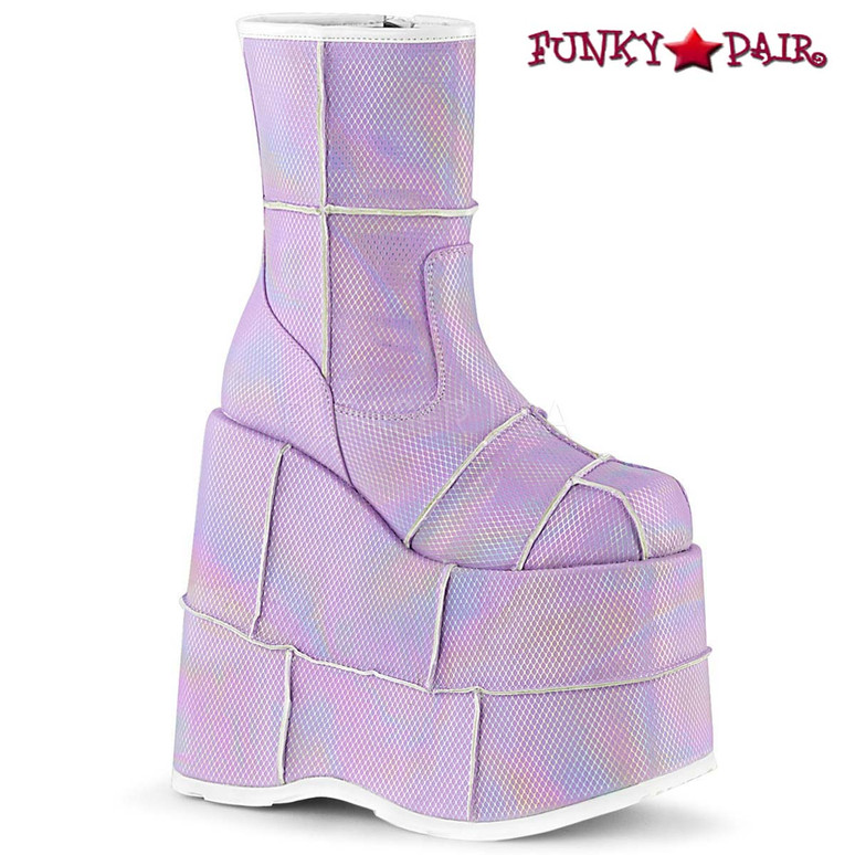 Men Demonia | STACK-201HC, Hologram Ankle Boots with Patch Detail
