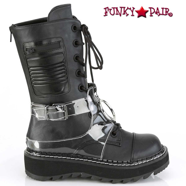 Lilith-271, Mid-Calf Lace-up Boots by Demonia Side View