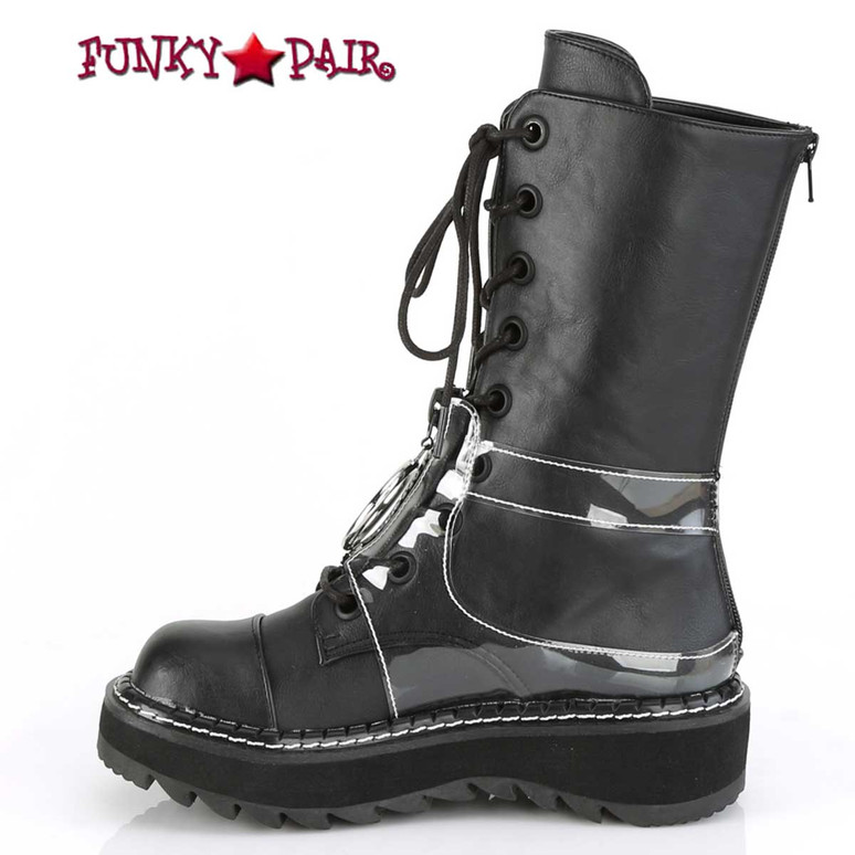 Lilith-271, Inner Side View Mid-Calf Lace-up Boots by Demonia