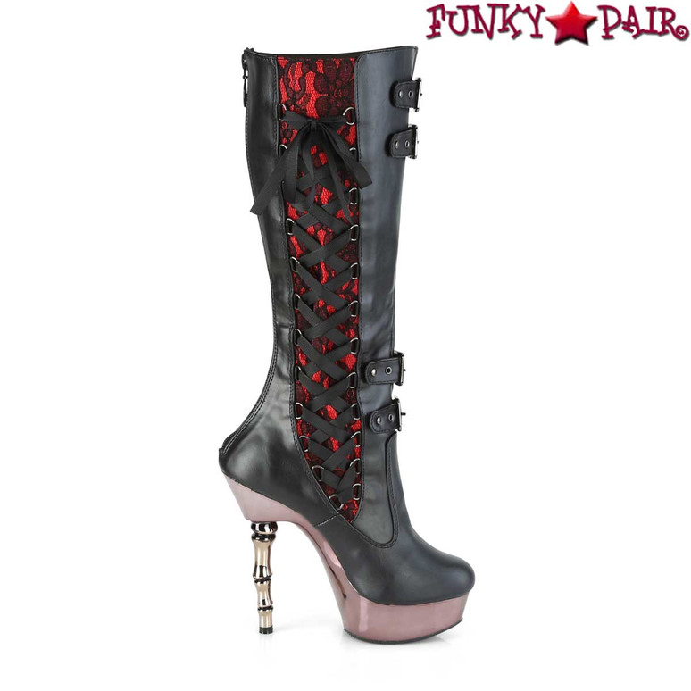 MUERTO-2030, Corset Style Knee High Boots | Inner Two Tone Lace View