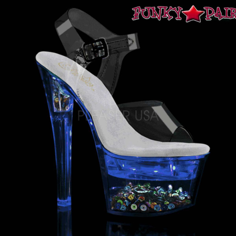 Stripper Shoes | Flashdance-708SQ, Ankle Strap Sandal with Sequin and Light-up Platform color blue