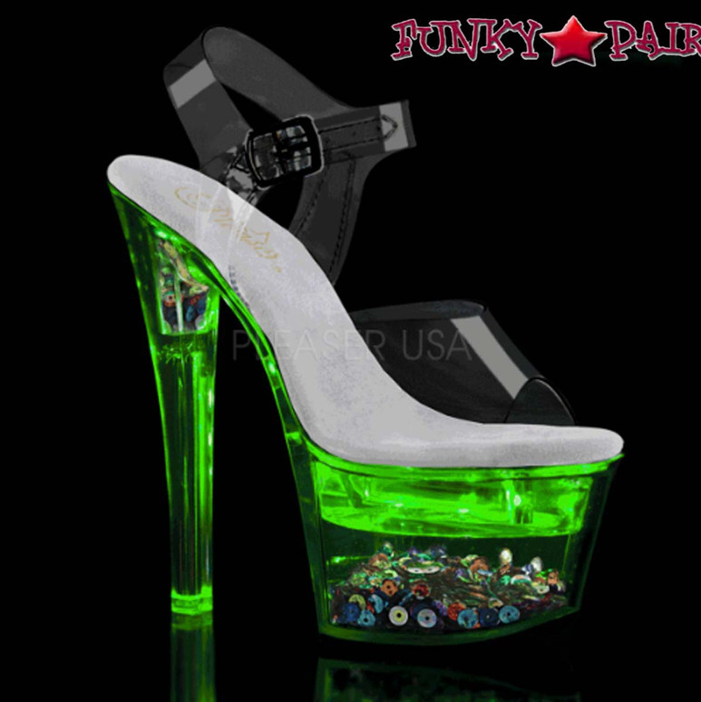 Pleaser Shoes | Flashdance-708SQ, Ankle Strap Sandal with Sequin and Light-up Platform color