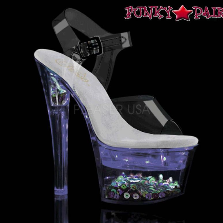 Stripper Shoes | Flashdance-708SQ, Ankle Strap Sandal with Sequin and Light-up Platform color purple