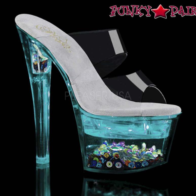 Exotic Dancer Shoes  Flashdance-702SQ, Dual Strap Light-up Platform Sandal color turquoise