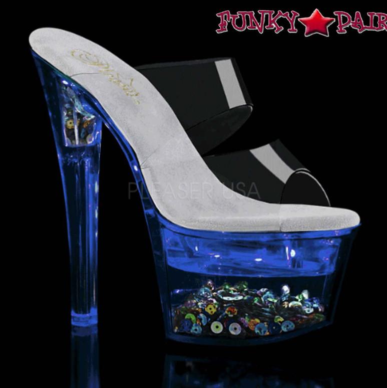 Pleaser Shoes  Flashdance-702SQ, Dual Strap Light-up Platform Sandal color blue