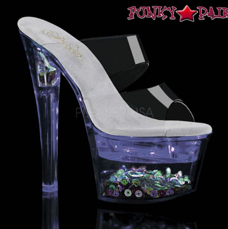 Exotic Dancer Shoes  Flashdance-702SQ, Dual Strap Light-up Platform Sandal color purple