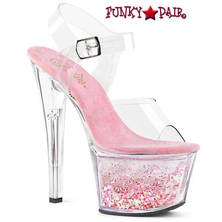 SKY-308WHG, 7 Inch Pink Flowing Glitters Platform by Pleaser