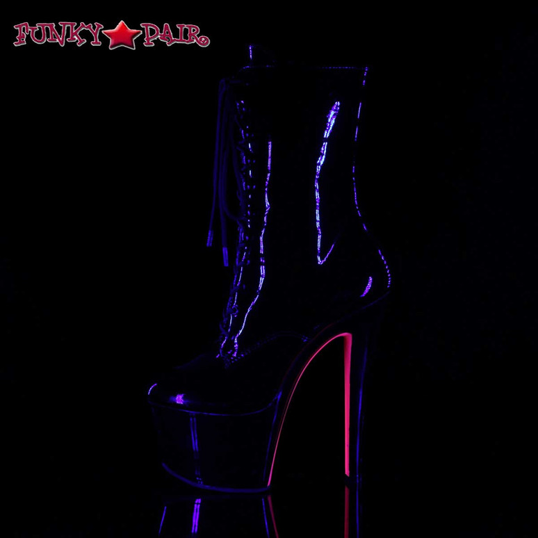 Side View Sky-1020TT, Tow Tone Ankle Boots | Pleaser Boots color Hot Pink