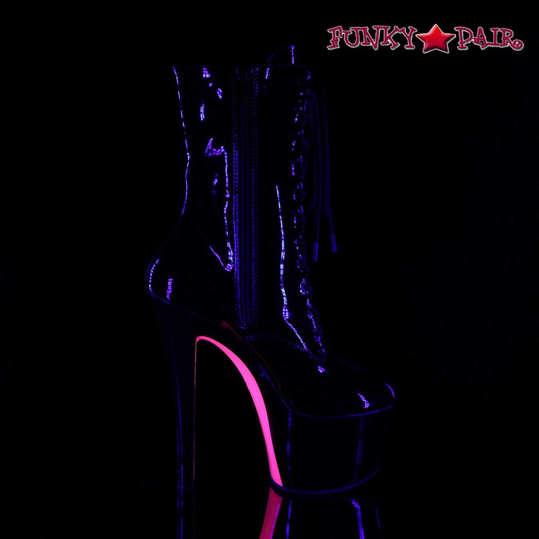 Sky-1020TT, Tow Tone Ankle Boots | Pleaser Boots color Hot Pink Inner Side View