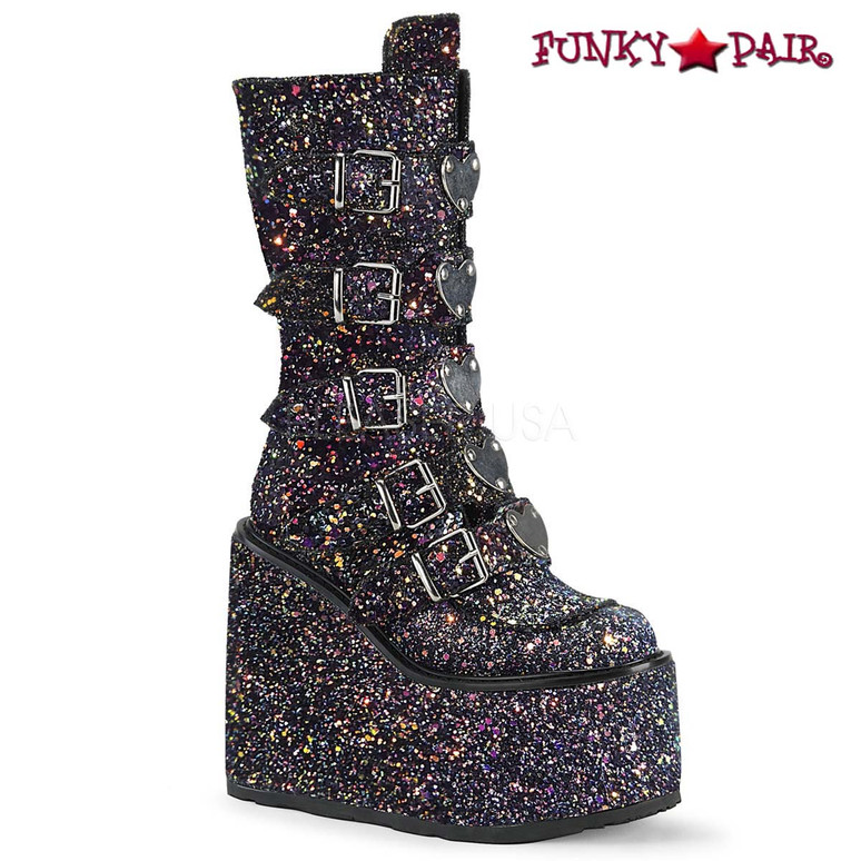 Glitter Boots | SWING-230G, Mid-Calf Glitters Boots with Heart Buckles Straps color black