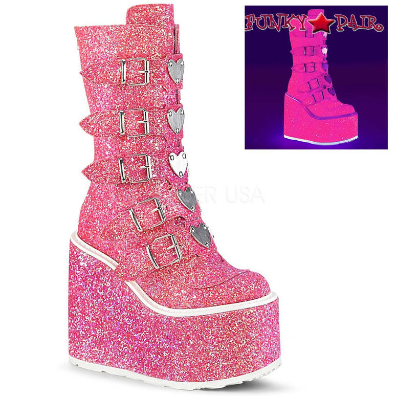 Glitter Boots | SWING-230G, Mid-Calf Glitters Boots with Heart Buckles Straps color pink