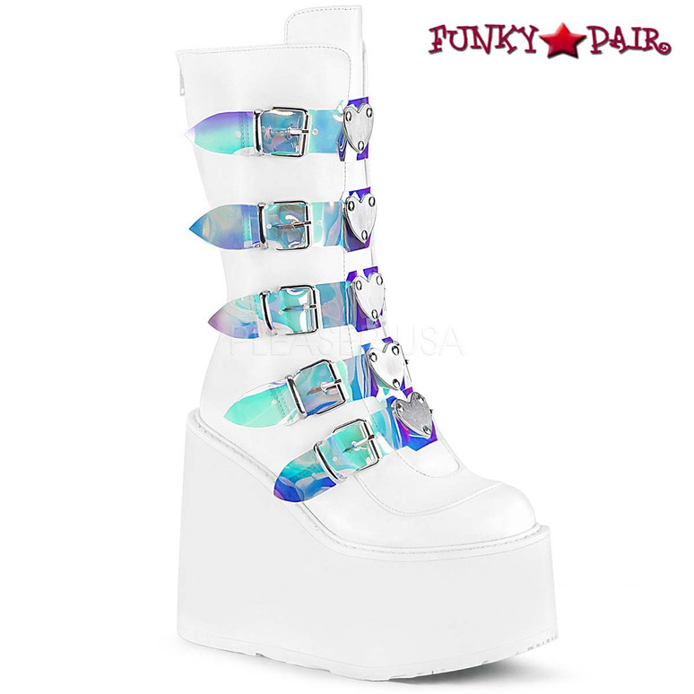 Raver Boots | SWING-230, Mid-Calf Boots with Heart Buckles Straps color Wht Vegan Leather