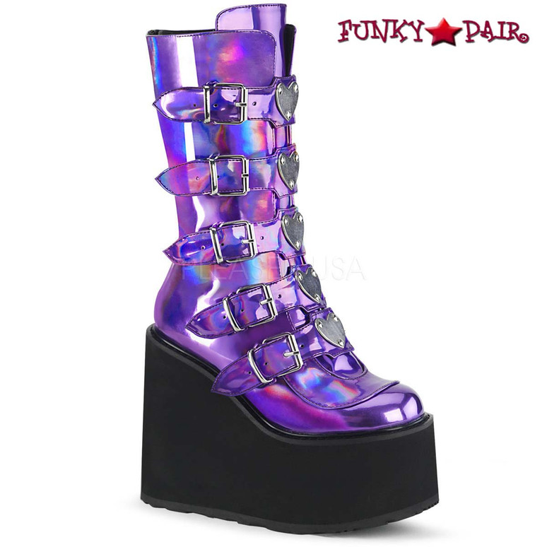 Raver Boots | SWING-230, Mid-Calf Boots with Heart Buckles Straps color Purple Holo
