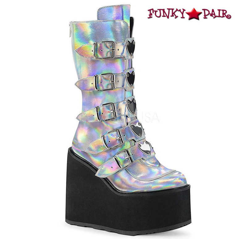 Raver Boots | SWING-230, Mid-Calf Boots with Heart Buckles Straps color Silver Hologram Vegan Leather