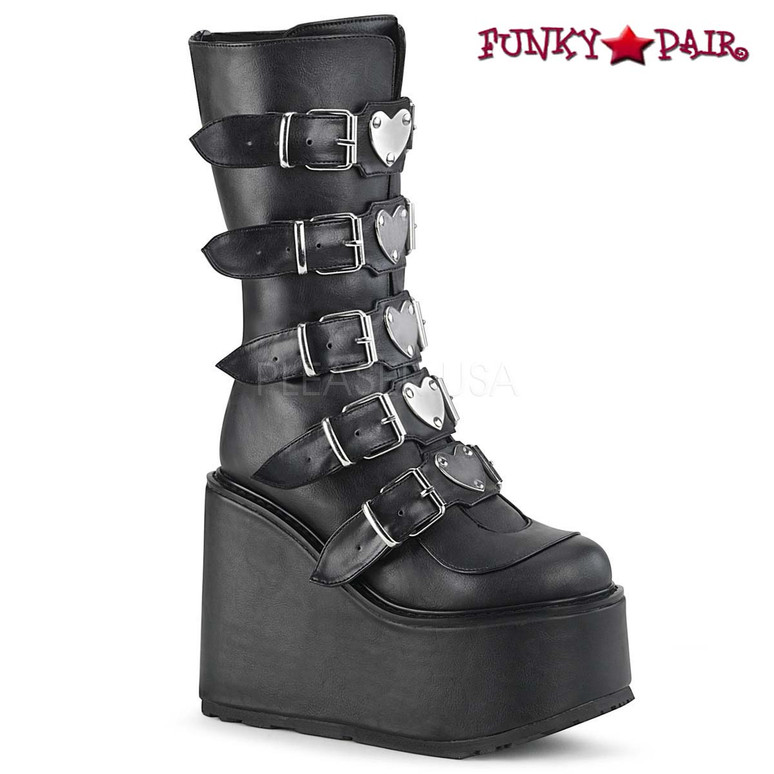 Demonia Boots | SWING-230, Mid-Calf Boots with Heart Buckles Straps color black Vegan Leather