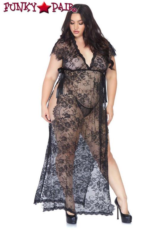 Eyelash Lace Robe full view Leg Avenue   LA86103X