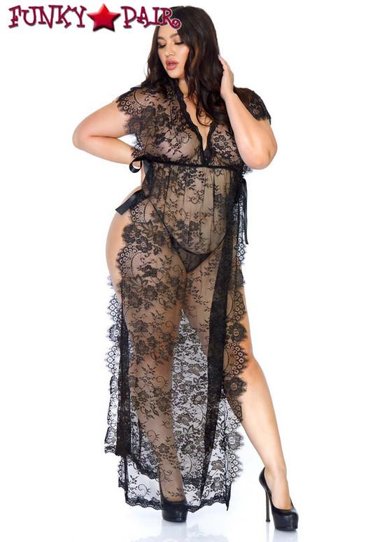 Leg Avenue   LA86103X, Eyelash Lace Robe full view