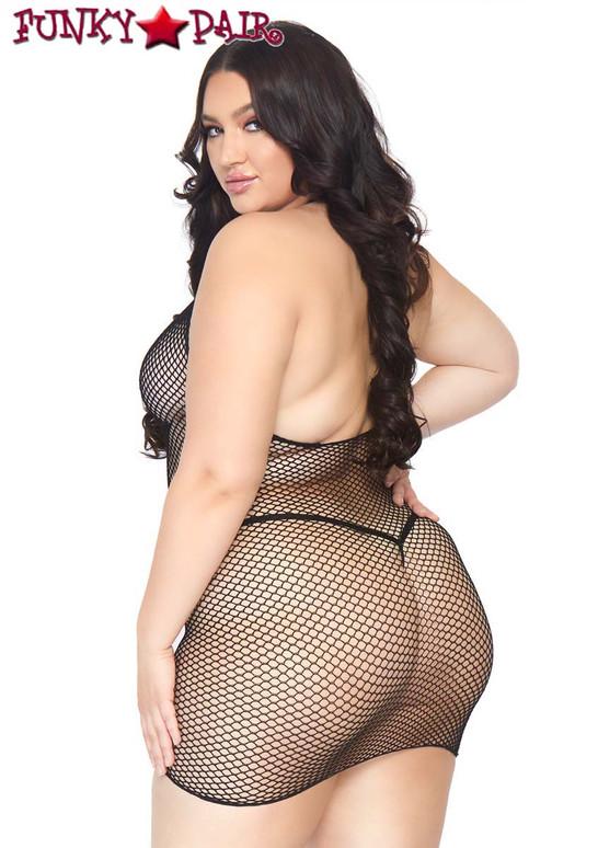 Leg Avenue LA86086X Plus Size Fishnet Zip Up Mini Dress back view