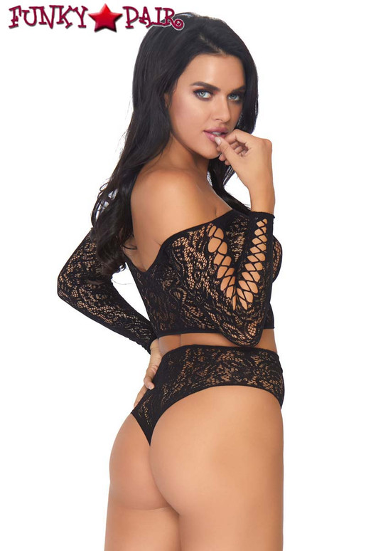Leg Avenue | LA86793, Lace Crop Top with High Waist Thong side view