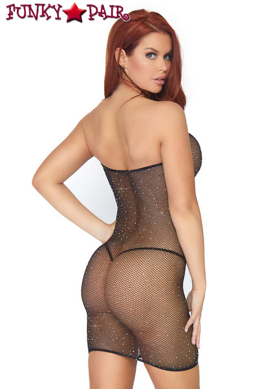 Leg Avenue | LA86797, Crystalized Convertible Tube Dress color black back view