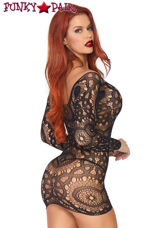 Leg Avenue | LA86794, Crochet Lace Mini Dress back view