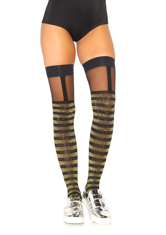Leg Avenue LA-6314 Striped Thigh Highs With Sheer Garter
