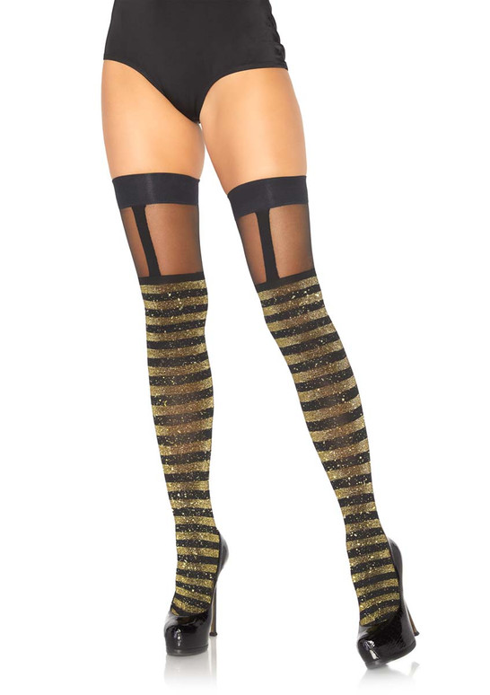 Striped Thigh Highs With Sheer Garter Leg Avenue LA-6314