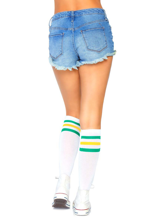 Athletic Striped Knee Highs Leg Avenue | LA-5614 color green/yellow back view