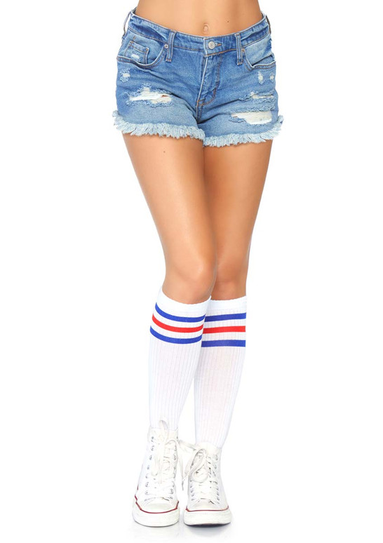 Athletic Striped Knee Highs Leg Avenue | LA-5614 color red/blue back view
