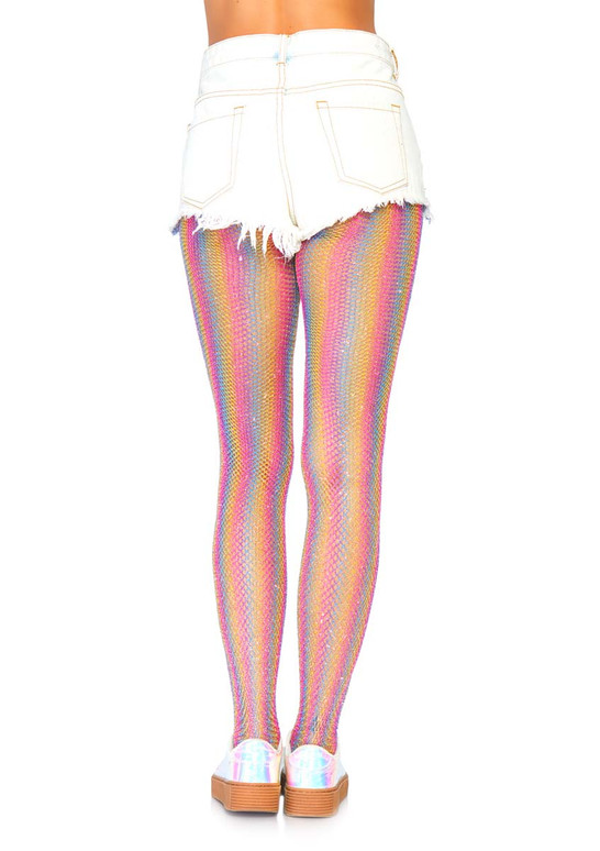 Rainbow Fishnet Tights Leg Avenue LA-9308 color pink back view