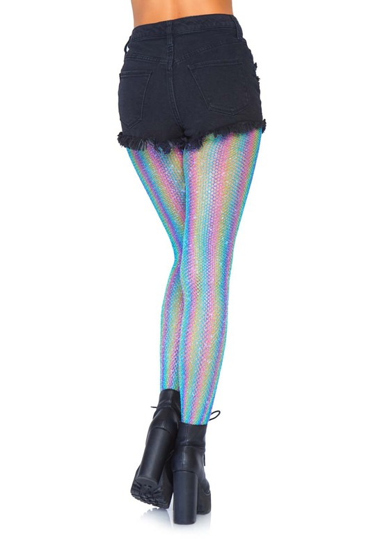 Rainbow Fishnet Tights Leg Avenue LA-9308 color blue back view