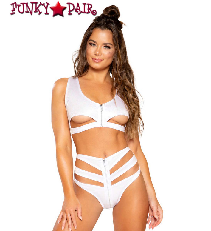 Roma | R-3731, RAVE SNAKE SKIN CUTOUT CROP TOP white with bottom 3728