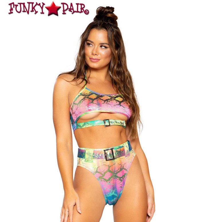 MULTI-COLOR CROP TOP | Roma R-3746 with R-3747 bottom