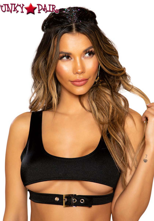 Black CROP TOP WITH CUTOUT   Roma R-3748