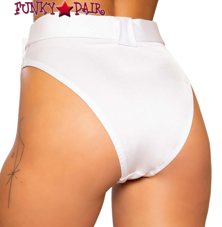 White BELTED HIGH-WAISTED SHORTS Roma | R-3749 back view