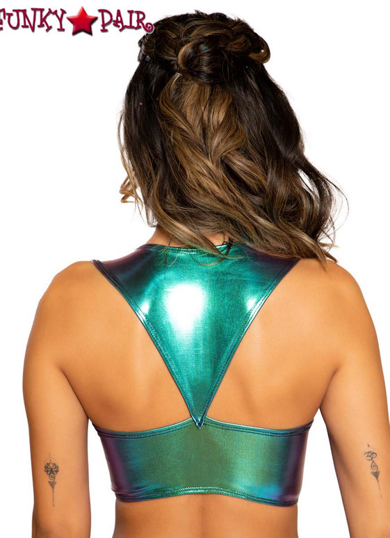 Roma | R-3752, METALLIC CROP TOP color Iridescent Blue back view