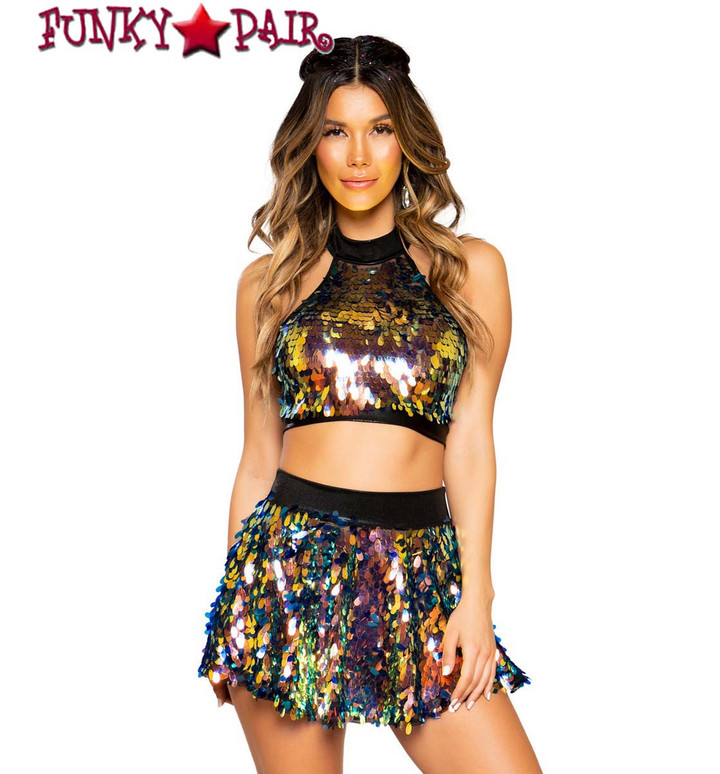 Roma   R-3757, SEQUIN CROP TOP color black iridescent with skirt 3758