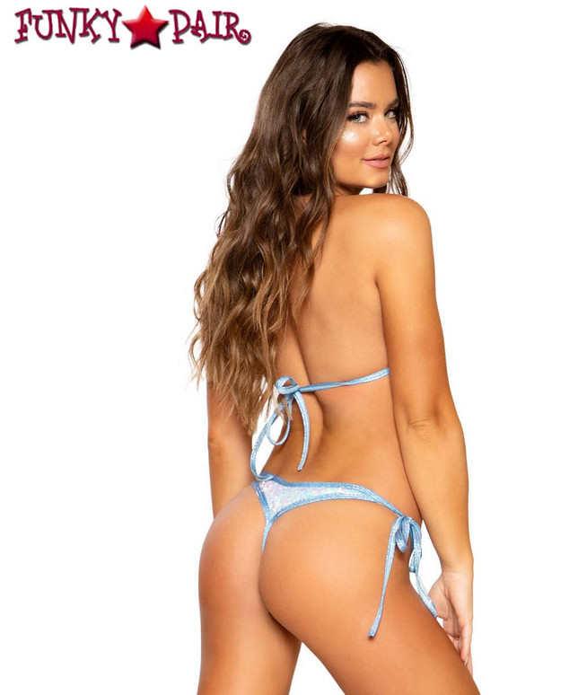 BIKINI TIE SET | Roma R-3715 color Light Blue back view
