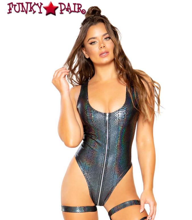 Roma Costume | Rave SNAKE SKIN ROMPER  color silver/black R-3685,