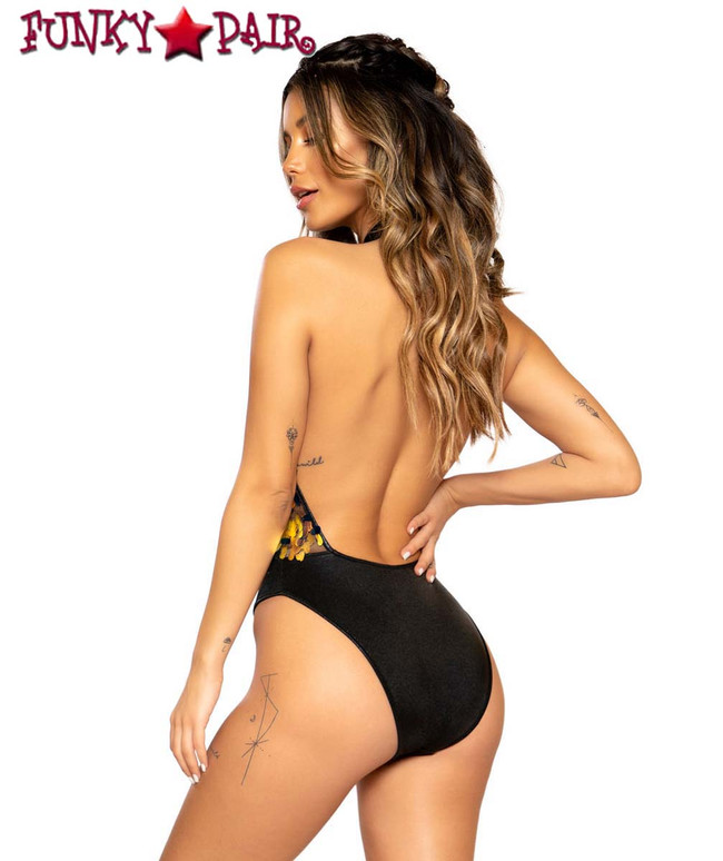Roma | R-3670, TWO-TONE LACE-UP ROMPER color black iridescent back view