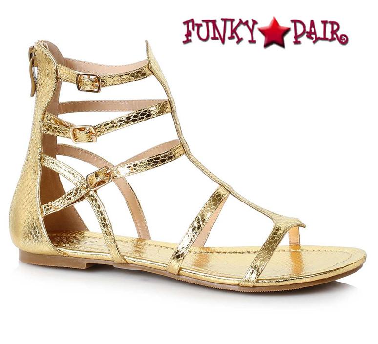 Ellie Shoes 015-Athena Women Flat Gladiator Sandal color gold