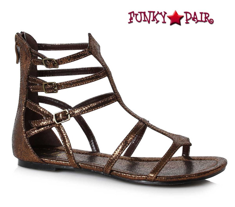 Ellie Shoes 015-Athena Women Flat Gladiator Sandal color bronze