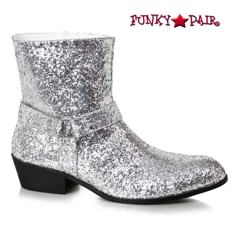 Men's Silver Glitter Boots | Ellie Shoes 129-Fever
