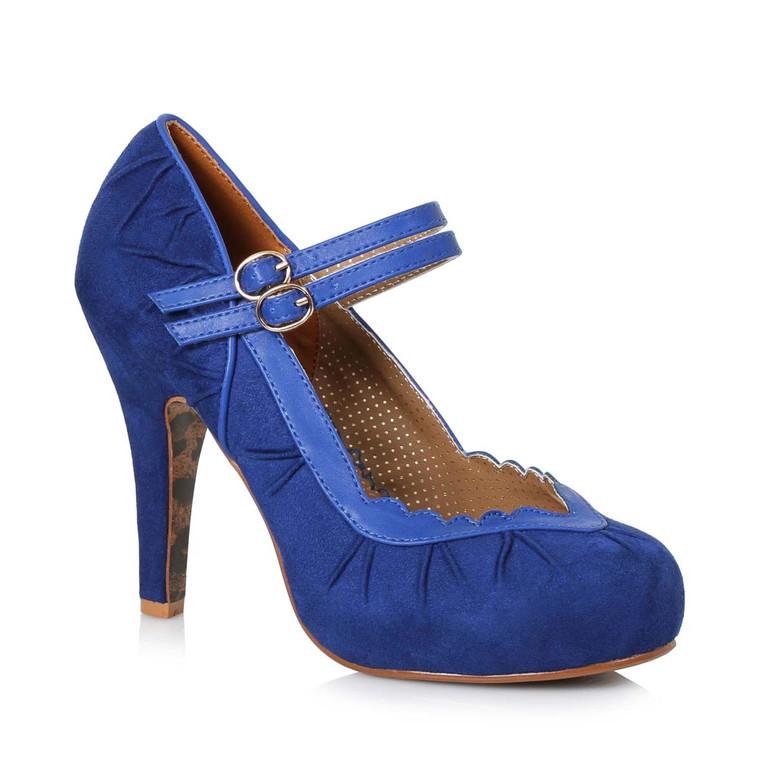 Bettie Page   BP412-Tami, Double Strap Suede Marjane color blue