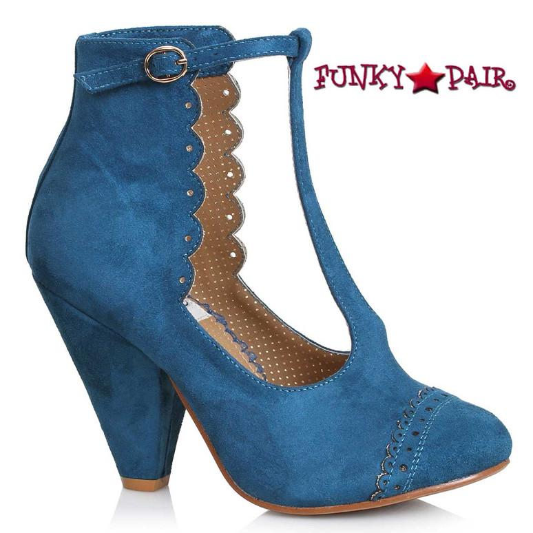 Bettie Page | BP403-VIO, Closed Toe Suede T-strap Sandal color blue