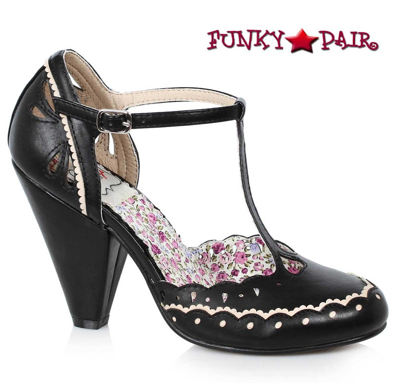 Bettie Page BP403-Birdie T-strap Shoes Chunky Heel Mary jane color black